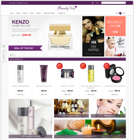 Beauty Shop homepage