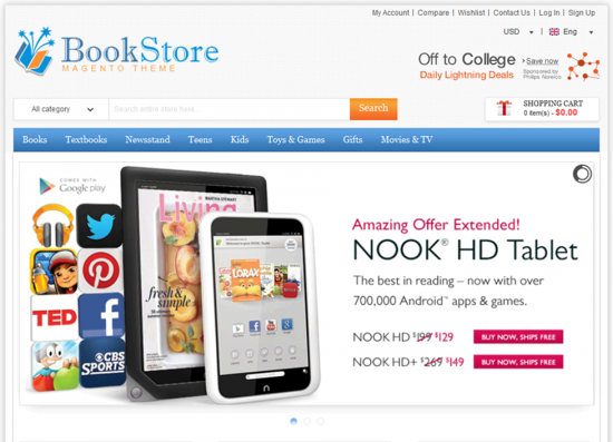 Magento Bookstore Theme of CMSMart